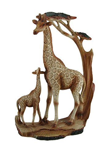 Zeckos Polyresin Statues Giraffe Family Carved Wood Look Resin Statue 8.5 X 12 X 3 Inches Multicolored