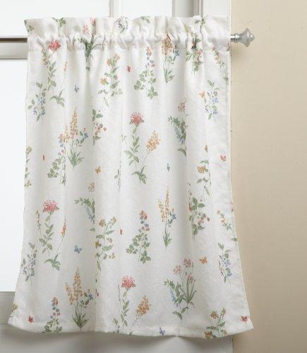 - LORRAINE HOME FASHIONS English Garden 55-inch x 24-inch Tier Curtain Pair, White/Multi