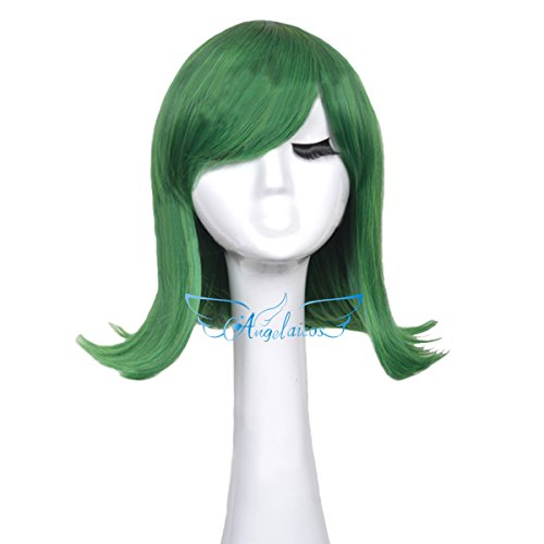 Angelaicos Unisex Lolita Party Halloween Cosplay Costume Hair Full Wigs Short (Green)