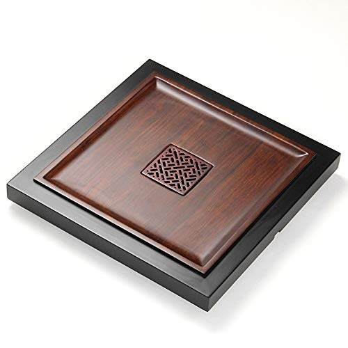 Square Bamboo Tea Tray with Hollow Design, Size: 41 x 41 x 4.3cm by Zhiyuan