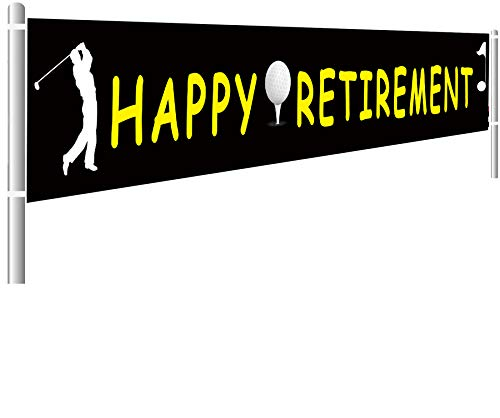Colormoon Large Happy Retirement Banner, Retirement Party Supplies Decorations, Golf Retirement Banner, Outdoor Indoor (9.8 x 1.5 feet) ()