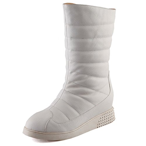 LongFengMa Women's Wedge Heel Snow Boots White