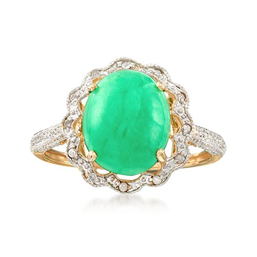 Shape Jade Diamond (Ross-Simons Cabochon Green Jade and Diamond-Accented Scalloped Ring in 14kt Yellow Gold)