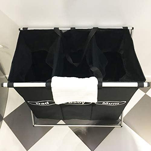 ZXF Panier de rangement grand panier à trois grilles Panier de rangement parent-enfant Panier à support en alliage d'aluminium noir, noir Panier à linge