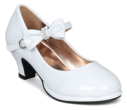 Low Patent Bow Pumps - OLIVIA KOO Girls Patent Bow Mary Jane Shoes (Size 9-Y4)