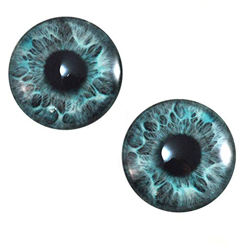 30mm Mint Blue Mermaid Fantasy Human Glass Eyes Unique Pair for Art Dolls, Sculptures, Props, Masks, Fursuits, Jewelry Making, Taxidermy, and More from Megan's Beaded Designs