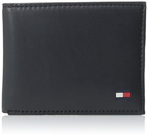 Tommy Hilfiger Men's Leather Wallet - Thin Sleek Casual Bifold with 6 Credit Card Pockets and Removable ID Window, Navy Dore