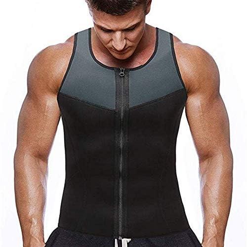 CHJMJP 男性ファッションフィットネスジムネオプレンサウナタンクトップウエストトレーナーボディシェイパースリミングスーツジッパーベストのためにBodyshaperのトップス (Color : 2, Size : M)