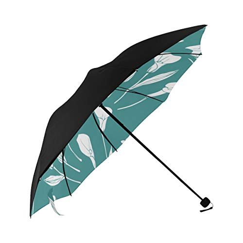 (Calla White Floral Hand Drawn Romatic Compact Travel Umbrella Sun Parasol Anti Uv Foldable Umbrellas(underside Printing) As Best Present For Women Sun Uv Protection)