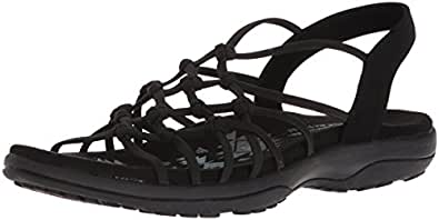 Skechers Womens 40828 Reggae Slim - Forget Me Knot - Knotted Web Gore Open Toe Slingback Black Size: 5