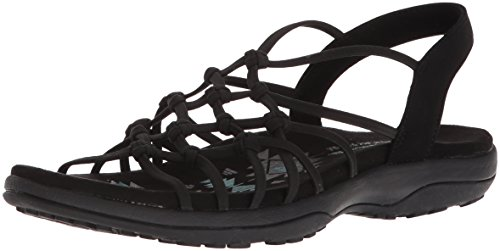 Skechers Women's Reggae Slim-Forget Knotted Web Gore Open Toe Slingback Sandal, Black, 11 M US