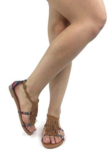 Betani Femmes Gladiateur Frange Boho Lacets Sandales Mode Décontractée Sandales Tan
