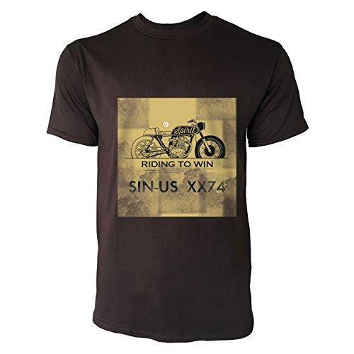 SINUS ART® Riding To Win Herren T-Shirts in Schokolade braun Fun Shirt mit tollen Aufdruck