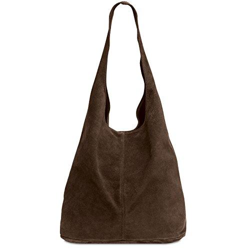 CASPAR TL767 large Women Suede Leather Shopper Dark Brown