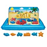 Moon Sand Word World - Word Sand At the Beach with 6 Molds, Inflatable Play Tray and Colored Sand