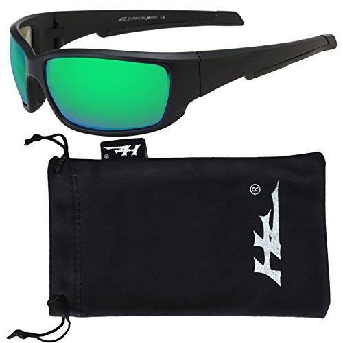 HZ Series Superfit - Premium Polarized Sunglasses by Hornz – Sunglasses for Men – Full Frame Strong Arms – Matte Black Frame – Emerald Green Mirror - Emerald Lens