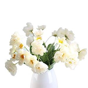 Mynse 12 Pieces Lifelike Artificial Poppy Flower Home Garden Dining Table Christmas Decoration Silk Poppy Flowers White 120