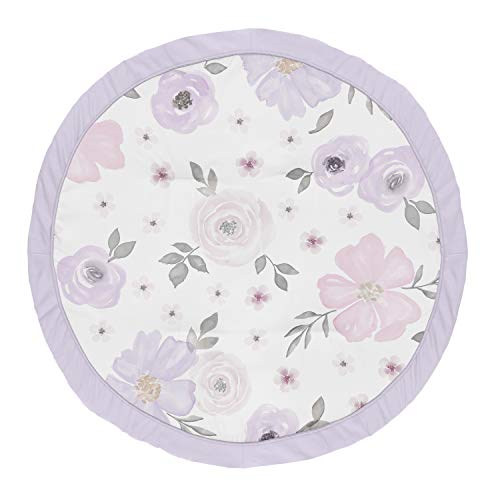 Sweet Jojo Designs Lavender Purple, Pink, Grey and White Shabby Chic Playmat Tummy Time Baby and Infant Play Mat for Watercolor Floral Collection - Rose Flower