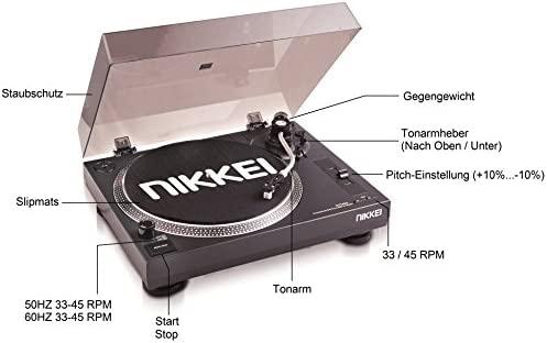 Nikkei NTT05U - Tocadiscos (vigencia de 22 cm, USB, accionamiento por Correa) Color Negro