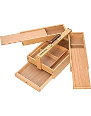 MEEDEN Artist Supply Storage Box - Portable Foldable Multi-Function Beech Wood Artist Tool & Brush Storage Box with Compartments & Drawer for Pastels, Pencils, Pens, Markers, Brushes