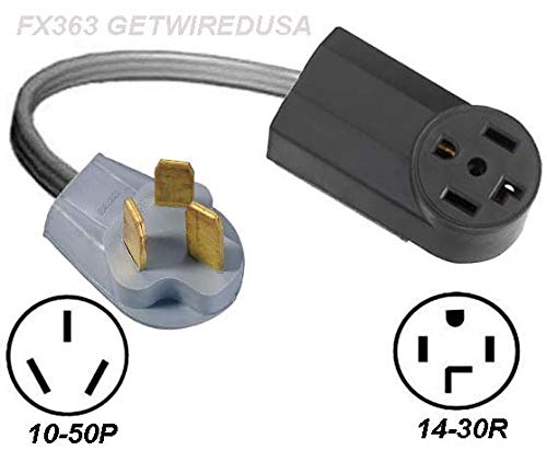 (NEW 4-PRONG 14-30R FEMALE DRYER RECEPTACLE to OLD 3-PIN 10-50P RANGE STOVE OVEN MALE PLUG CORD ADAPTER)