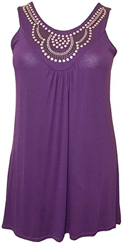 Womens Plus Size Plain Sequin Stud Detail Tunic Tops Mini Dresses (16/18, Purple)