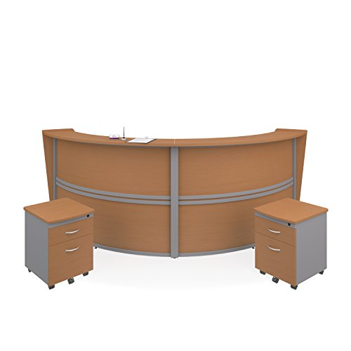 OFM Marque Series Double-Unit Curved Reception Station - Office Furniture Receptionist/Secretary Desk with Two Maple Pedestals (PKG-55292-MPL)