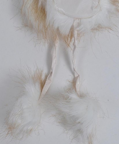 White Snazzy Pom Pom Fur Trapper Aviator Hat HT0316
