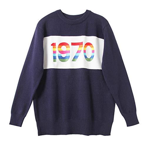 JIAKENVDE Winter Rainbow Digital dünnes Hemd Strickpullover Langarm Rundhals Pullover Frau war dünn