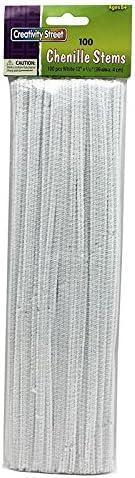 Set of 12 CHENILLE KRAFT COMPANY CHENILLE STEMS WHITE 12 INCH