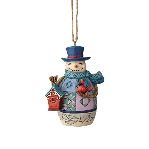 Enesco Jim Shore Heartwood Creek Mini Snowman with Birdhouse Hanging Ornament, 3.375