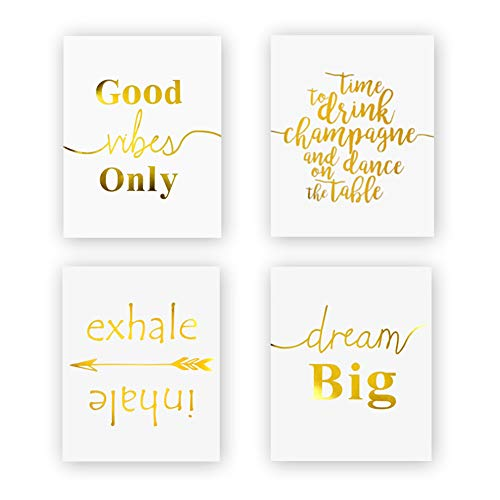 Inspirational Quotes&Sayings Gold Foil Print, Yoga Room Office Motivational Phrases Typographic Cardstock Art Print Positive Signs Home Decor (8 X 10 inch, Set of 4, UNframed) (White Art Gold And)