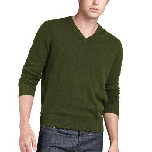 - Parisbonbon Men's 100% Cashmere V-Neck Sweater Color Olive Green Size XL