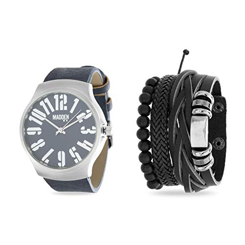 Steve Madden Silver-Tone and Navy Blue Band Watch with Stackable Multi Bracelet Jewelry Set for Men from Steve Madden