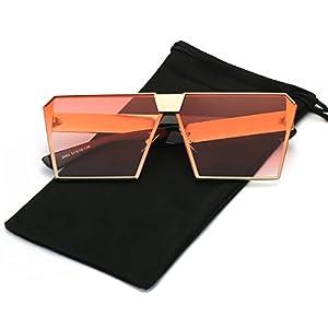 LKEYE - Unique Oversize Shield Vintage Square Sunglasses LK1705 Gold Frame/Gradient Red Lens