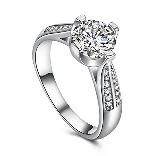 - Napoo-Rings Clearance Women Flower Crystal Wedding Ring Jewelry Engagement Ring (Silver, 8)