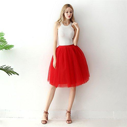 Tulle de De CM Bal Demoiselles Fte Ligne Vintage Party Mollet Balle Jupon Mi 60 Tutu ShowYeu A Femmes Robe Dress Rouge qfFzYx