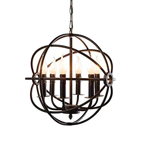 Windsor Home Deco WH-63410 Retro Industrial Hanging Pendant Chandeliers, 6-Light Globe Metal Pendant Lights for Bedrooms Dining Room