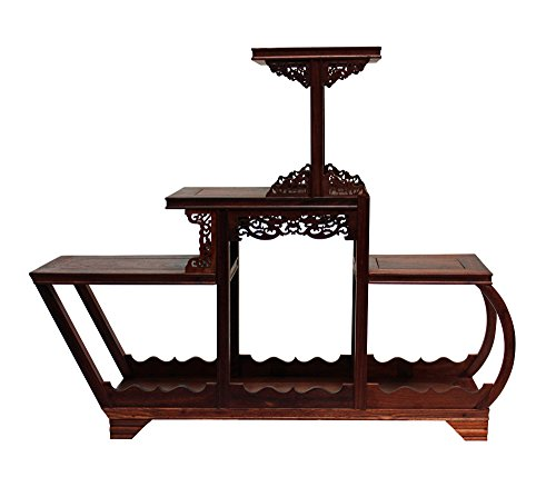 Reddish Brown Wood Tower Shape Small Table Top Curio Display Easel Stand Acs3706 by Small/Unique/Gift