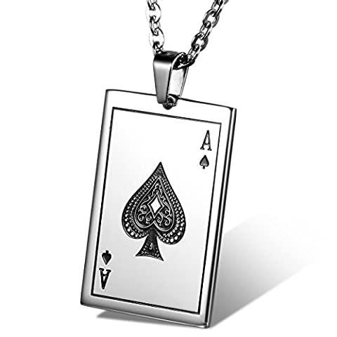 Cupimatch Mens Stainless Steel Ace of Spades Poker Card Pendant Necklace with 22 Inch Chain (Necklace For Men Cool)