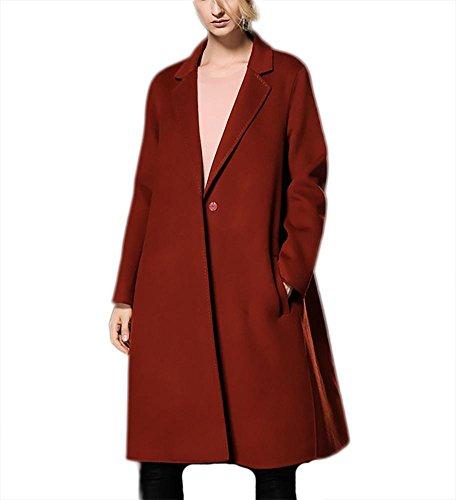 Otoño Invierno engrosamiento de doble cara chaqueta de lana abrigo de cachemira Outwear Traje collar rompevientos, óxido rojo rust red