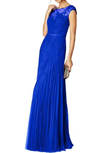 Figurbetont Spitze Partykleider Royal Royal Neu Abendkleider Ballkleider La Braut mia Festlichkleider Blau Langes Blau Chiffon qwwIUpvx
