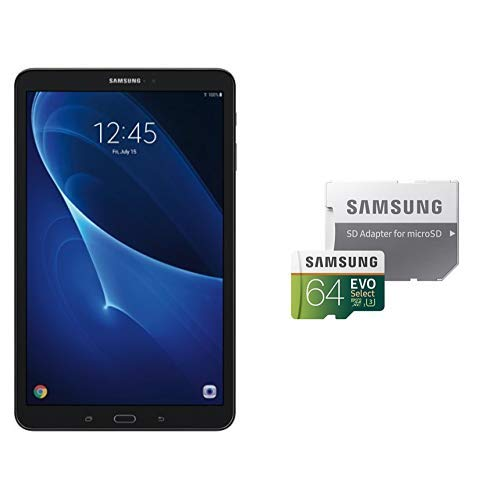 Samsung Galaxy Tab A SM-T580NZKAXAR 10.1-Inch 16 GB, Tablet (Black) and Samsung 64GB 100MB/s (U3) MicroSDXC EVO Select Memory Card with Adapter (MB-ME64GA/AM)
