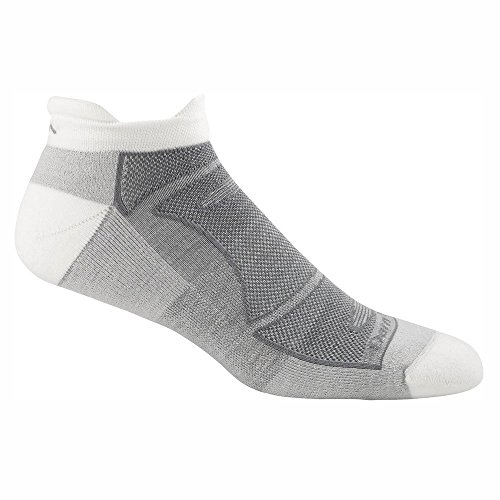 Darn Tough Men's No-Show Light Cushion Athletic Socks, (Style 1722) - 6 Pack White/Gray, Medium