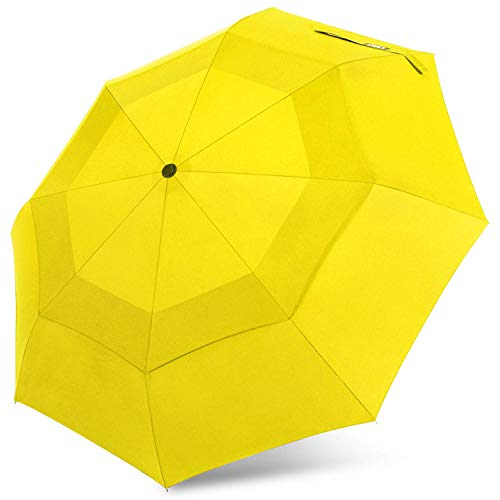 G4Free Compact Travel Umbrella with SAFE LOCK Double Canopy Windproof Auto Open Close Folding Umbrella (Yellow) (Double Canopy Umbrella)