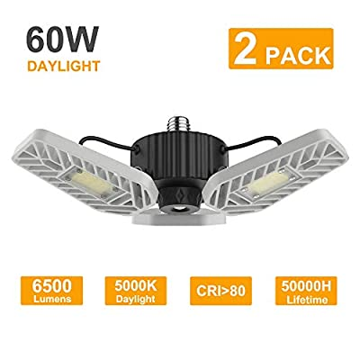 LZHOME 2-Pack LED Garage Lights, 6500Lumens Adjustable Trilights Garage Ceiling Light,60W LED Garage Ceiling Light, CRI 80, 5000k Nature Light, Garage Lights with Adjustable Panels, Led Shop Light
