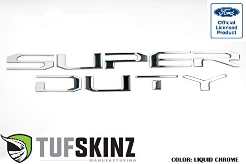 TufSkinz   Hood Letter Inserts - Fits 2017-20 Super Duty(Liquid Chrome)