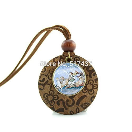 - Pretty Lee New Design Round Wood Necklace Fairy Flying Fish Necklace Glass Picture Pendant Gifts For Girl