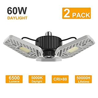 LZHOME 2-Pack LED Garage Lights, 6500Lumens E26/E27 Adjustable Trilights Garage Ceiling Light,60W LED Garage Light, CRI>80, 5000k Nature Light,Garage Lights with Adjustable Panels(No Motion Activate)
