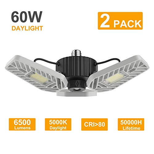 LZHOME 2-Pack LED Garage Lights, 6500Lumens E26/E27 Adjustable Trilights Garage Ceiling Light,60W LED Garage Light, CRI>80, 5000k Nature Light,Garage Lights with Adjustable Panels